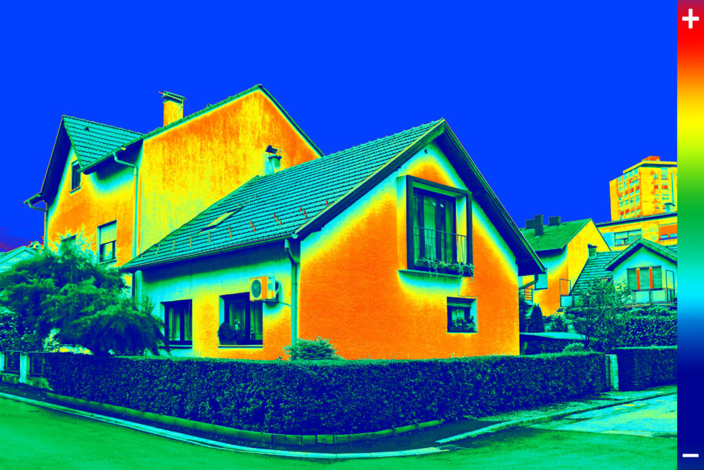 Thermal imaging thermographic testing survey on residential building