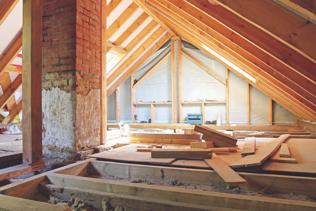 Interior view of roof loft construction
